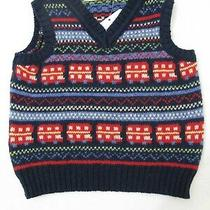 190969 Boys 6-12 Months Jojo Maman Bebe Red Bus Fair Isle Sweater Vest Nwt  Photo