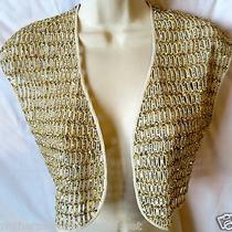 1920 Nwot New Yigal Azrouel 6 S Cardigan Top 100% Silk Gold Navy Sequin  Photo