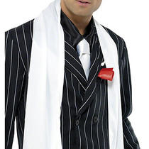 1920's and 1950's White Gangster Scarf With Fringe Fancy Dress Costume Accessory Photo