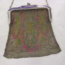 1920s Antique Whiting & Davis Art Deco Fine Mesh Purseflapper Bag Purple Enamel Photo