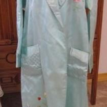 1930/40s Silk Emb Birds Flowers Night Robe Lingerie Sexy Glamour Girl Aqua Photo