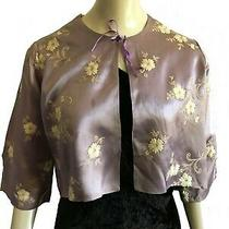 1930s Soft Blush Lilac Satin White Flower Embroidery Cropped Evening Jacket 30s Photo