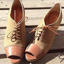 1937 Footwear Madewell Leather Open Toe High Heel Brown Shoes Size 8 Photo