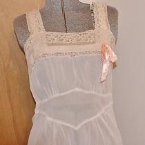 1940's Vintage Sheer Blush Rayon & Ecru Lace  Nightgown Slip   Photo