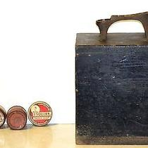 1940s 1950s Shoe Shine Box With Cast Iron Foot Rest and All the Tools Photo