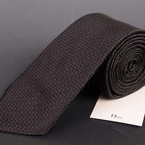 195 Dior Homme Black Silk Satin Logo Tie New Photo