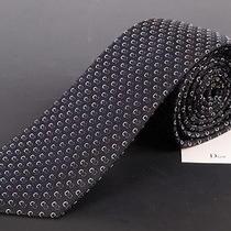 195 Dior Homme Navy Blue Silk Satin Logo Tie New Photo