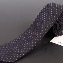 195 Dior Homme Navy Blue Silk Satin Skinny Tie New Photo