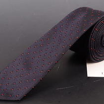 195 Dior Homme Navy Blue Silk Satin Skinny Tie New Photo