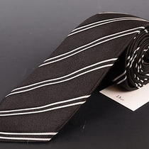 195 Dior Homme Solid Black Silk Satin Regimental Tie New Photo