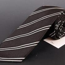 195 Dior Homme Solid Black Silk Satin Regimental Tie New Photo