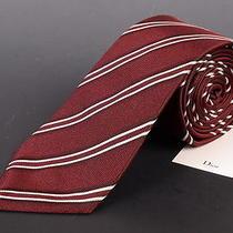 195 Dior Homme Solid Burgundy Silk Satin Regimental Tie New Photo