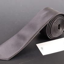 195 Dior Homme Solid Gray Silk Satin Skinny Tie New Photo