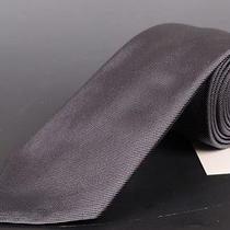 195 Dior Homme Solid Gray Silk Satin Tie New Photo