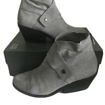 195 Eileen Fisher Tag Suede Bootie Women's Heel Ankle Boots Tornado Grey Size 8 Photo