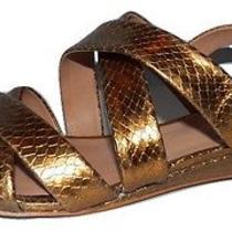 195 Pour La Victorie 'Baya' Gold Reptile Print Sandals Lk Nw Sz 8 M Photo