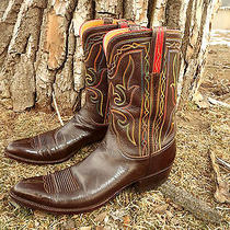 1950s Lucchese Vintage Rare Western Cowboy Boots Pee Wee Men's 9 Cool Stitching Photo