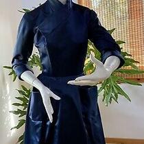 1960 Christian Dior Original Navy Silk Satin Prim Daywear Dress Photo