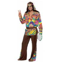 1960's Adult Men's Psychedelic Hippie 60's Fancy Dress Costume Size Large Photo