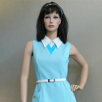 1960's Mod Mini Dress Tuxedo Collar Turquoise Blue Summer Check S/m Photo