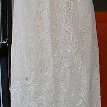 1960's Vtg Blush Nude Dress Half Slip Lingerie Lace Applique Slit Petticoat  Photo