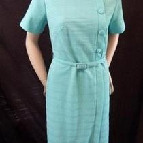 1960s Aqua Textured Polyester Bow Collar Detail Short Sleeve Dress British Lady Photo