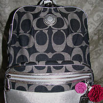 19691 Coach Sis Large Sig Back Pack Book Bag School Tote  Purse Denim Blue New Photo