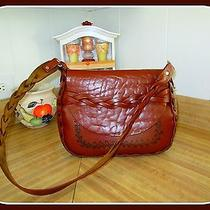 1970's Large Thick Leather Hippy Style Shoulder Bag Purse Messenger or Hobo  Photo