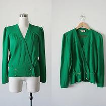 1970's Vintage St. John Designer Knit Green Wrap Style Fitted Sweater Large Photo