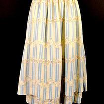 1970s Cotton Stripe & Floral Cotton Valentino Skirt Waist-26 Photo
