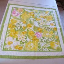 1978 Vintage Avon Square Scarf S.w. Kent Yellow Tulip Print 27.25