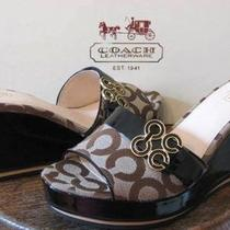 198 Coach Geri Khaki Brown Logo Wedge Slides Shoes Size 9.5 Mib New Photo