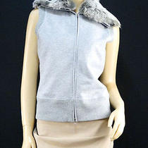 198 Elie Tahari Gray Rabbit Fur Zip-Up Vest - Medium Photo