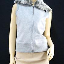 198 Elie Tahari Gray Rabbit Fur Zip-Up Vest - Medium Photo