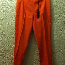 198 Elie Tahari Women's Linen Cropped Pants Bright Orange Size 8 Photo