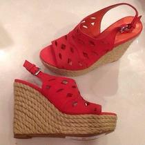 198 via Spiga Dark Pink Suede Platform Wedge Espadrille Sandals Shoes Size 6 Photo