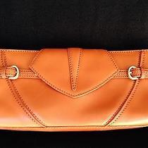 198 via Spiga Orange Leather Clutch Hand Bag Photo
