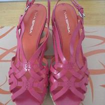198  via Spiga  Raspberry Leather Espadrille Wedge Sandals Size 95 Photo