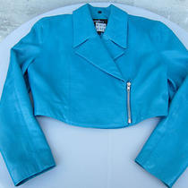 1980's Vintage Michael Hoban North Beach Leather Aqua Jacket Size 7/8 Photo