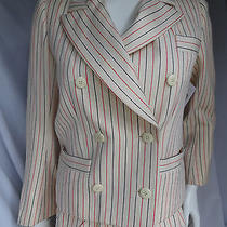 1980s Yves Saint Laurent Rive Gauche Cream Red and Blue Pinstriped Skirt Suit Photo