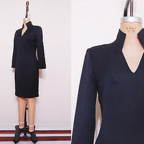 1980s Givenchy Couture Wool Dress / Vintage 80s Black Structured Dress Photo