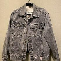 1980s Guess Vintage Denim Trucker Jacket George Marciano Sz Xl Photo