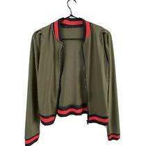 1980s Olive Green Poly Gucci-Esque Track Jacket Zipup Fitted Athletic Sporty Xxs Photo