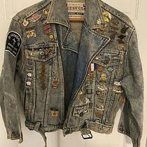 1980s Vintage Womens Denim Guess Jacket 1990s Harley-Davidson Pins Sturgis Usa Photo