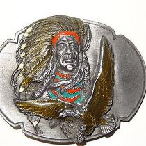 1989 Siskiyou Pewter Belt Buckle Native American Indian Chief Joseph Quote Eagle Photo