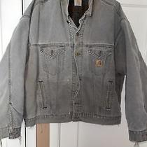 1990s Mens Destroyed Carhartt Trucker Sandstone Jean Jacket Brn. Xl/xxl Photo
