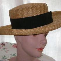 1990's   Straw Hat  Natural Color Wide Brim Narrow Fold Along Edges. Express Photo