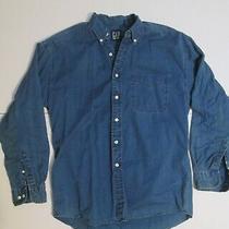1990s Vintage Blue Indigo Gap Button Down Oxford Shirt Large Photo