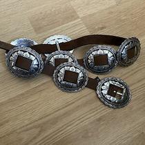 1992-1993 Brighton Silver Sunflower Concho Black Leather Belt 36 Inch Long. Photo
