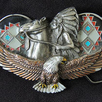 1992 Gap Belt Buckle Indian Chief on Horse Over Wings of an Eagle   Photo
